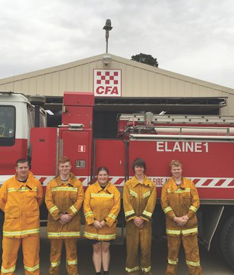 The Elaine Fire Brigade members were acknowledged for their commitment to protecting their community during the Scotsburn fires in 2015. Photo – Shane Dunne