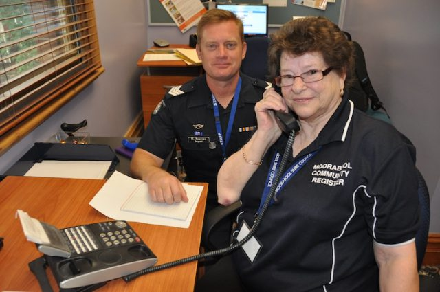 Ballan Sgt Michael Kearnes with Moorabool Community Register volunteer Audrey Stanaway. Photo – Helen Tatchell