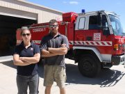 Coimadai brigade volunteers Mel Peterson and Stewart Geerling are reeling over the theft of a vehicle and essential equipment last week from their fire station. Photo – Jessica Howard
