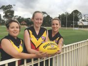 (L-R) Mel Halliday, Zhoe Clarke and Ash Halliday are part of the Senior Women's football team for the Bacchus Marsh Cobra's. Photo – Helen Tatchell