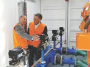 Geoff Howard (MP) and Central Highlands Water Chair, Jeremy Johnson inspect the new hydro plant at Lal Lal. Photo – Damien Wieland