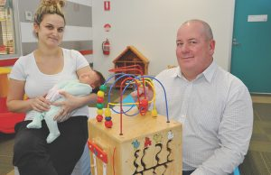 New mum Brooke Grey and baby Zoey with Mayor Edwards at the new Maternal Health area inside the hub. Photo - Helen Tatchell