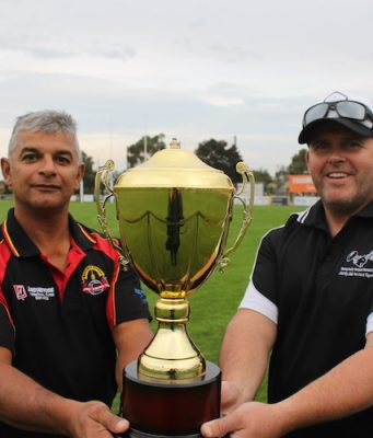 Junior FNC Presidents (L-R) Darren Smith (Bacchus Marsh) and Matt Colley (Darley) with the new Cup up for grabs. Photo – Jessica Howard