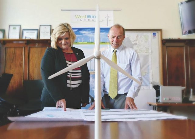 WestWind Commercial Operations Manager, Marla Brauer looks over the plans with Member for Buninyong Geoff Howard. Photo – Damien Wieland