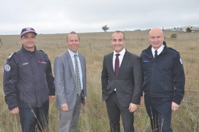 Acting CFA Chief Officer Alen Slijepcevic, Member for Buninyong Geoff Howard, Emergency Services Minister James Merlino and Emergency Management Commissioner Craig Lapsley at the announcement of the new $31m CFA training site for Ballan. Photo – Helen Tatchell