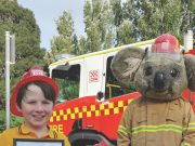 Brothers Clancy and Banjo Luke were presented with Captain Koala Honorary Firefighter certificates by Ballan Fire Brigade Captain Kaine Myers and CFA Operations Officer Chris Bigham. The boys are pictured with Captain Koala. Photo – Helen Tatchell