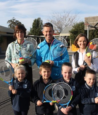 (L-R) Back - Principal Melinda Williams, Tennis legend Todd Woodbridge, Fiona Manifold (ANZ) and (front) students, Mia, Ryder, Isla and Brinn  Photo – Jessica Howard
