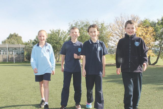 (L-R) Bacchus Marsh Primary School students Tilly, Dean, Elsie and Lachi walk laps at school Photo – Jessica Howard