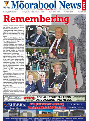 The Moorabool News front cover - 25th April 2017