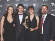 (L-R) Bianca Timofte, Thomas, Edith and Tony Paarhammer with their award. Photo – State Govt. Vict.