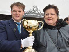Ballan Jockey Club President Billy Smith with Catherine Moon
