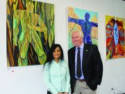 Peter Shilton with artist Anuradha Patel