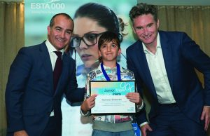 Nicholas pictured with Minister James Merlino and Dave Hughes. Photo - ESTA