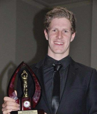Hamish Coulton, pictured here with the 2016 BFL rookie of the year award, will represent the Energy Save Vic Country Under 19 football squad this weekend. Photo – Helen Tatchell