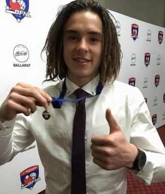 The Brownlow Medal of the BJFL U16.5 football joint winner, Ballan local Riely Ranieri Photo - Helen Tatchell
