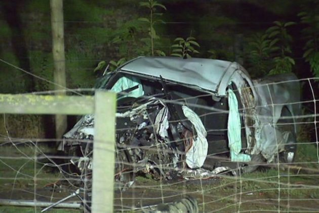 The vehicle which ran off Bacchus Marsh Road into a tree, killing 22-year-old Hayden Kloppers Photo – ABC News