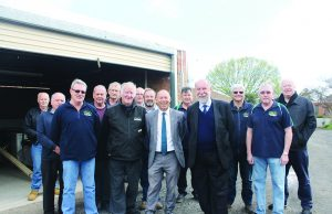(front) Bacchus Marsh Men's ShedPresident Alec McQuie, Vic Men's Shed Association member Bob Forde, Member for Buninyong Geoff Howard and Don Nardella (Member for Melton) with members at the announcement of new funding. Photo – Jessica Howard