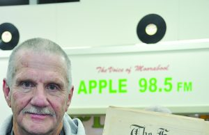 David Steele with the original local newspaper (The Express) story to get a radio station in Bacchus Marsh. Photos – Helen Tatchell