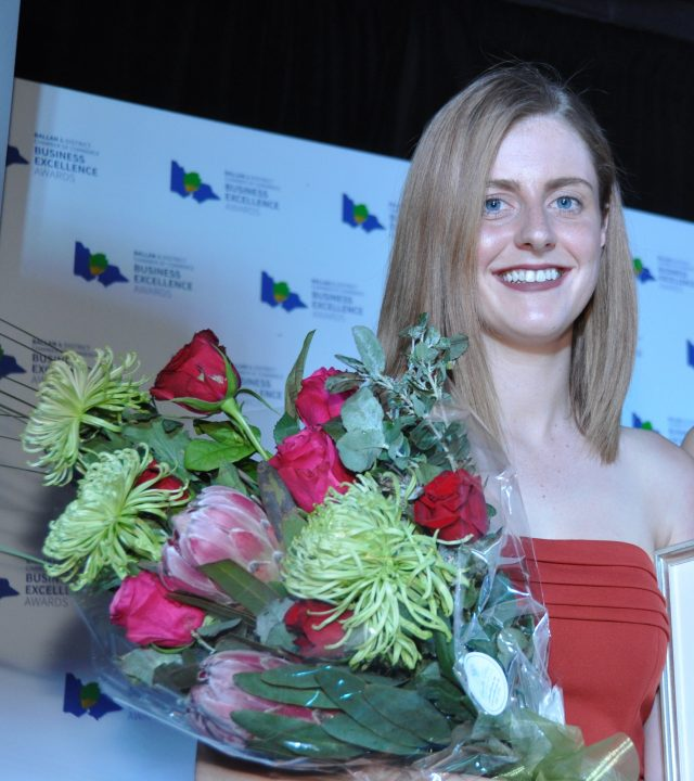 Abbey Kick took out the Young Achiever Award at the Ballan & District Chamber of Commerce Business Excellence Awards last Friday night. Photo – Helen Tatchell