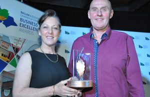 Debbie and Simon Ross from Commercial Glazing picked up three awards on the night, including Business of the Year. Photos – Helen Tatchell