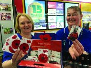 Trudy and Renae have Remembrance Day Poppy's for sale at the Ballan Newsagency. Photo – Helen Tatchell