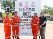 (L-R): Lee Brooker, Chris Stuckey, Jane Fraser (SES) and Peter Ellerton (Rotary)are ready for the Christmas tree fundraiser. Photo – Jessica Howarad