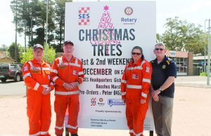(L-R): Lee Brooker, Chris Stuckey, Jane Fraser (SES) and Peter Ellerton (Rotary) are ready for the Christmas tree fundraiser. Photo – Jessica Howarad