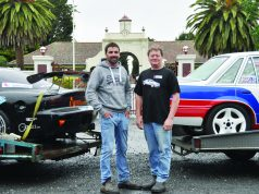 Gentlemen, start your engines! - (L-R) Stuart Hocking and Steve Grinstead with their cars showing support for a motoring complex/hub at the defunct CFA training college at Fiskville. Photo – Helen Tatchell