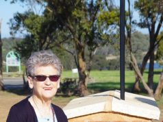 Betty Bridgewood with the plaque honouring her late brother Gordon Dawson