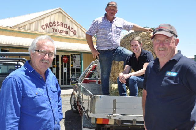 Bernie and Asha Shanahan (rear centre) have taken over an iconic business in Ballan, 25-years after founders (L-R) Peter Nolan and Lloyd Robertson opened the doors. Photo – Helen Tatchell