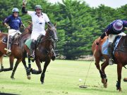 Polo is fast and furious with plenty of action – Greg Keyte (white) in action on Australia Day at Yaloak, as they prepare for the big Cup match this Sunday (11 Feb). Photo – Helen Tatchell