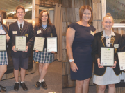 Bacchus Marsh Grammar Team - Youth of the Year 2018 (L-R) Teacher Debra Ogston and students Laura Knauer, Jessica Ewert, Juulke Castelijn.  Jessica Ewert won the overall 'Youth of the Year -2018' title. Teacher Mr Tori Mulligan with students: Danielle Kirwan, Frank Horrocks and Amelia Mahon. Amelia Mahon won the 'Public Speaking Award'