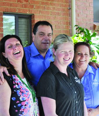 (L-R) Tracey, Peter, Ashley and Colleen are just some of the caring staff associated with the Aged Care facility in Ballan. Photo – BDH&C