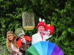 BAF committee members dressed and ready for the Mad Hatters Tea Party in Ballan this Sunday from 9am-4pm. (L-R) - Marion Hartzheim (Alice), Matthew Grindrod (Mad Hatter), Kevin Harper (March Hare) and Catharina Hartzheim (Queen of Hearts) Photo – Sabine Benthien – Nomadic Dreamtime Photography