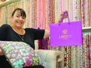 Millrose Quilting & Gallery owner Sue Bartleman is ready for the upcoming Liberty exhibition. Photo – Jessica Howard
