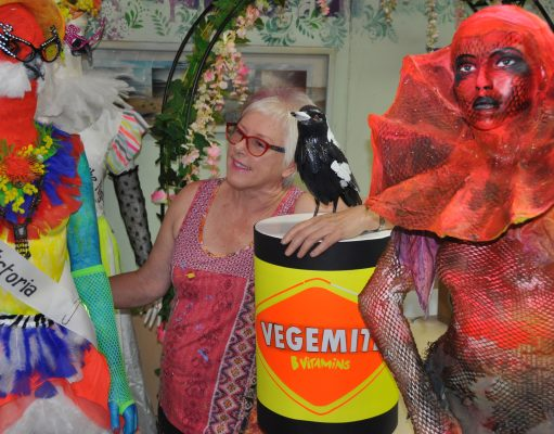 White Night exhibitor Lou Callow with some of her creations that include Miss Rural Victoria. Photo – Helen Tatchell
