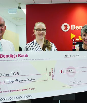 Bacchus Marsh Community Bank Chairman, Claire Sutherland (right) and Branch Manager, Ian Prince (left) with 18-year-old recipient Chelsea Bell. Photo – Jessica Howard