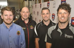 L-R: Bacchus Marsh Senior Vice-Captain Liam Mullen, Cobra's coach Travis Hodgson, Darley Coach Heath Scotland and Devil's Senior Captain Shane Page at the BFNL season launch. Photo - Helen Tatchell