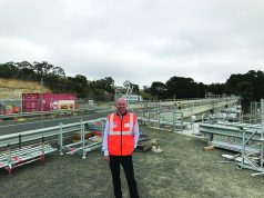Geoff Howard amidst the major road works underway at Pykes Creek Bridge, Myrniong. Photo – Damien Wieland