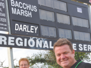 (L-R) Bill Lucas and Moorabool News' sports writer Todd Whelan are ready to broadcast on Apple 98.5fm the local Bacchus Marsh and Darley football matches, starting with Round 1 this Saturday at Maddingley Park, featuring the 2017 grand final replay between the cross town rivals. Photo – Helen Tatchell