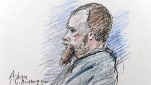 A court sketch of Adam Williamson
